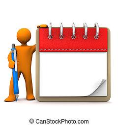 Manikin Notepad Ballpen - Orange cartoon character with...
