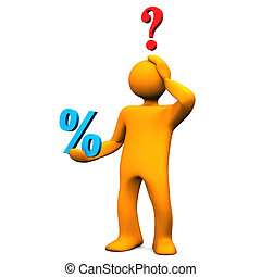 Manikin Percent Question - Orange cartoon character with ...