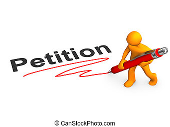 Manikin Petition - Orange cartoon character with ballpen and...
