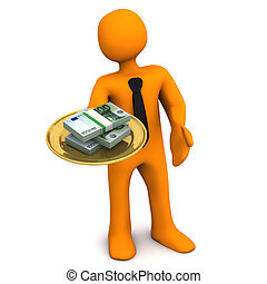 Manikin Plate Money - Orange cartoon character with golden ...
