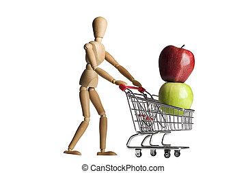 Manikin, shopping cart and fruit - Mannequin pushing a...