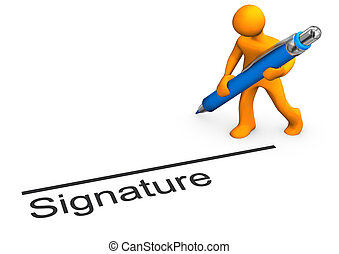 Manikin Signature - Orange cartoon character with blue pen...