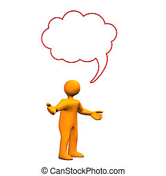 Manikin Speech Bubble Innocent - Orange cartoon character...