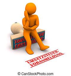 Manikin Stamp VAT Return - Orange cartoon character with...