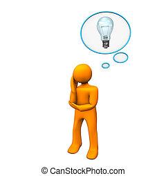 Manikin Thought Bubble Idea - Orange cartoon character with...