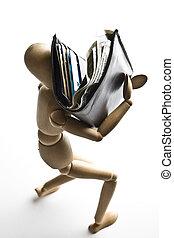 Manikin & wallet full of money - Manikin carrying a wallet...