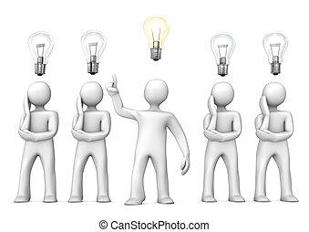 Manikin With Idea - White cartoon characters in thinking...
