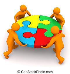 manikins, cercle, collaboration, puzzle, 4