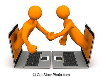 Manikins Laptops Handshake - Orange cartoon characters with...