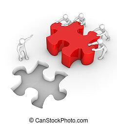 manikins, puzzle, lavoro squadra, rosso