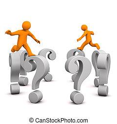 manikins, spørgsmål, hop