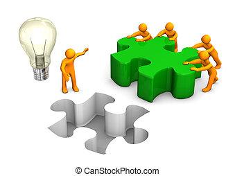 manikins, vert, puzzle, collaboration, ampoule