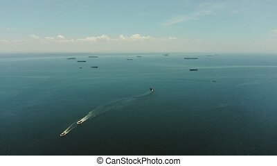 Manila bay with ships aerial view. - Arial view of ships at...