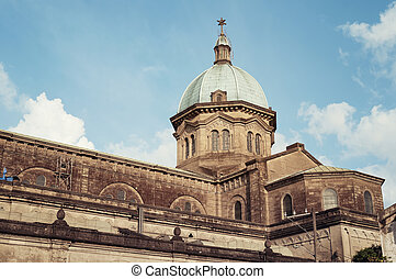 Manila Cathedral, Philippines - View of Manila Cathedral in ...