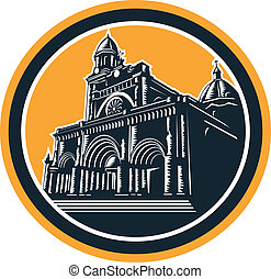 Manila Cathedral Woodcut Retro