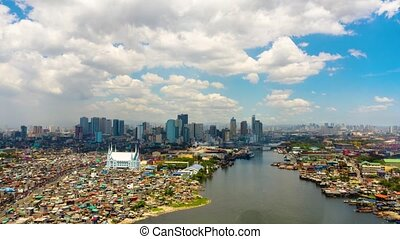 Manila cityscape with blue sky and clouds time lapse. - Time...