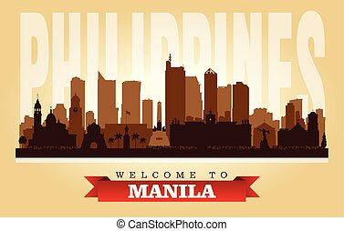 manila, filipinas, perfil de ciudad, vector, silueta