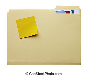 Manila folder with blank stickie - manila folder filled with...