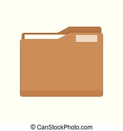 Manila Folder with Document. Business folder icon. Flat...