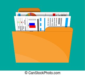 Manila folder with financial report with charts. Ring binder...