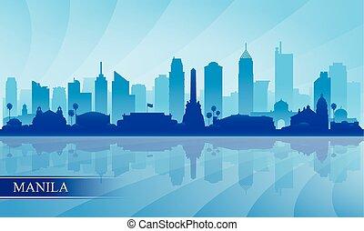 manila, perfil de ciudad, silueta, plano de fondo