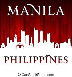 Manila Philippines city skyline silhouette red background