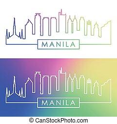 Manila skyline. Colorful linear style.