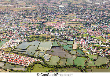Manila suburb, view from the plane, Philippines