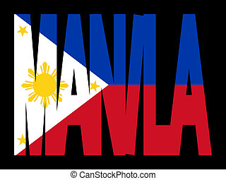 manila, texto, con, filipino, bandera