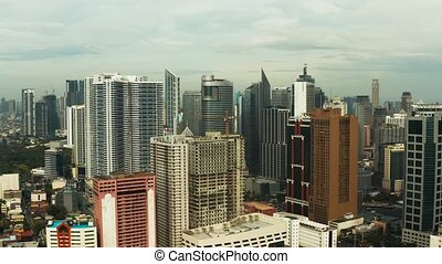 Manila, the capital of the Philippines, aerial view. -...