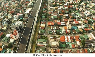 Manila, the capital of the Philippines top view. - Streets...