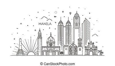 manila, vektor, skyline., philippinen, stadt