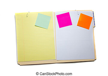 Manilla folder with post-it notes