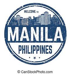 manilla, welkom teken, postzegel, of