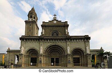 manille, cathédrale, dans, intramuros, philippines