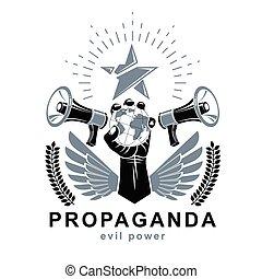 manipolazione, presentazione, globale, globo, manifesto, mezzi, control., altoparlanti, composto, vettore, elevato, propaganda, illustration., prese, braccio, terra