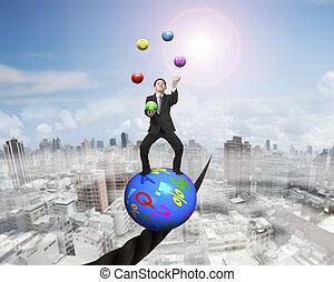 manipolazione, uomo affari sta piedi, su, simboli, palla, equilibratura, su, filo