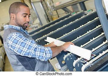 manipular, trabajador industrial, metal, tabla