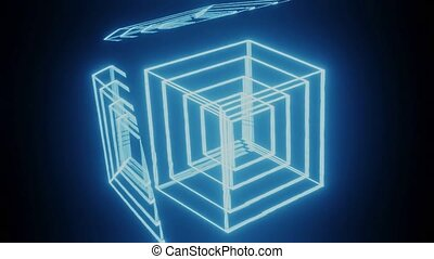 Manipulation of the light contours of nested cubes, movement of blue glowing bodies on a black background, red reflection of flying light, vfx movie, 3d cgi animation, abstract full HD animation