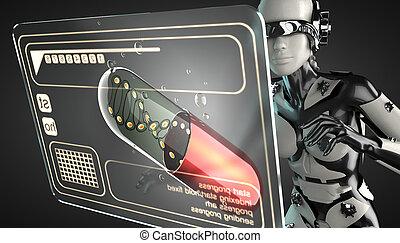 manipuler, femme, hologramme, exposer, robot