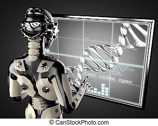 manipulieren, frau, hologramm, roboter, displey
