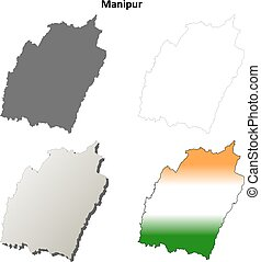Manipur blank detailed outline map set