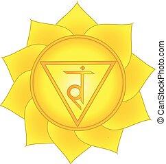 manipura. Solar plexus, third chakra symbol. Isolated vector...