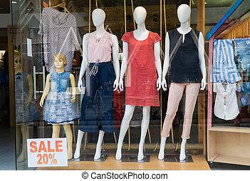 maniquíes, anunciar, ropa, vidrio., verano, atrás