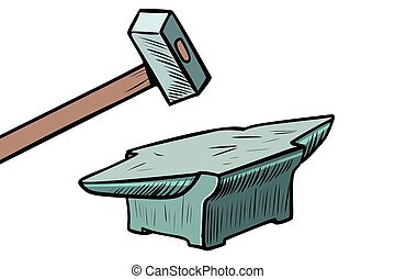 maniscalco, attrezzo, martello, anvil.