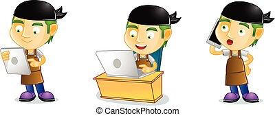 maniscalco, laptop, vettore, arte