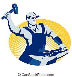 maniscalco, maniscalco, con, martello, ferro cavallo, retro