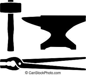 maniscalco, martello, lingua, equipment., anvil.