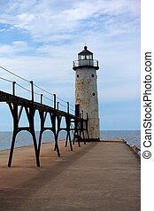 Manistee Pier Lighthouse on Lake Michigan