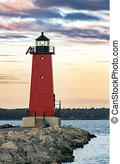 Manistique Lighthouse at Dawn